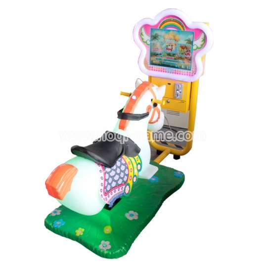 Noqi coin operated flnerglass kiddie ride horse for kids