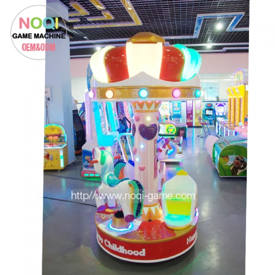 Coin operated rides musical carousel for three players